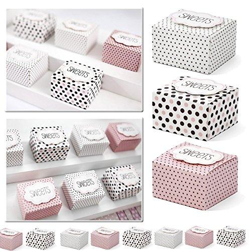 """30x scatole regalo colorate con scritta""""Sweets"""" come bomboniera o regalino, Kleenes Traumhandel®"""