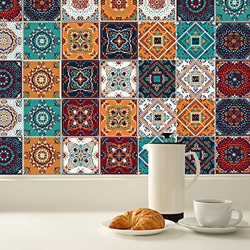 KAIRNE 24 Pezzi Piastrelle e Cucina Stickers,Adesivo per Pavimento de Cucina,Impermeabile PVC Autoadesivo Decorazione,Retro Adesivi per Piastrelle per Bagno,Adesivo Murale di Mosaico Fai Da Te,15×15cm