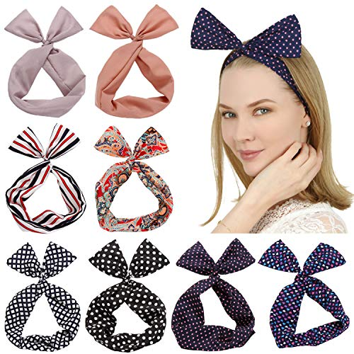 Sea Team Twist Bow Wired Headbands Foulard Wrap Hair Accessory Hairband by Sea Team (8 confezioni) (C)