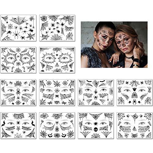 yyuezhi Tatuaggi Temporanei di Halloween Tatuaggio Terrore Impermeabile Ragnatela Faccia di Halloween Adesivi Autoadesivo del Tatuaggio Decorazione del Partito per Addio al Nubilato Carnevale Cosplay