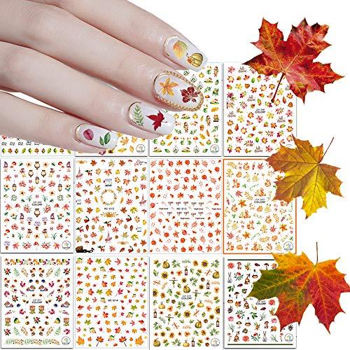 Kalolary 12 fogli Adesivi per unghie AutunnoNail Stickers, Decalcomanie Foglie di acero Girasole Adesivo 3D fai-da-te Decalcomanie di adesivi per unghie
