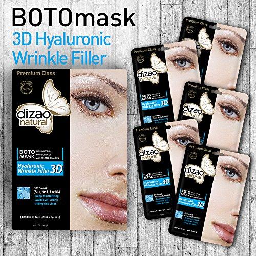 BOTOmask 3D Riempitore di grinze ialuroniche (maschere da 5 fogli) DIZAO Maschera viso naturale BOTO (viso, collo, palpebre).Riempimento linee fine. Sta funzionando!
