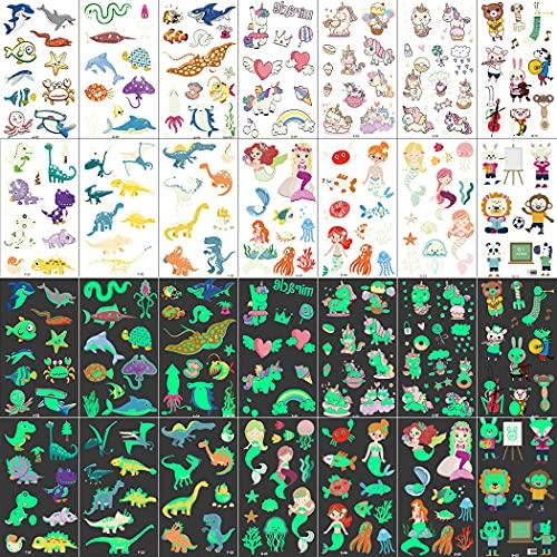 25 Fogli Tatuaggi Temporanei per Bambini, 247 Pezzi Che Si Illuminano Al Buio Tatuaggio dei Cartoni Animati Unicorno Dinosauro Animale Sirena Mondo Sottomarino Tatuaggio, per Body Art per Bambini