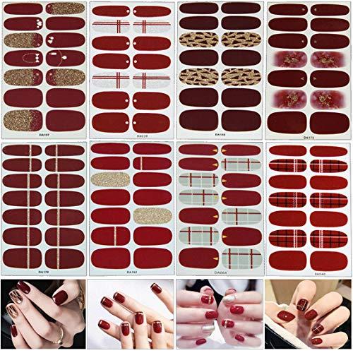 MWOOT 8 Fogli Autoadesivi Del Chiodo, Adesivi Unghie Decalcomanie, 3D Nail Sticker, Unghie Manicure le Punte Decorazioni