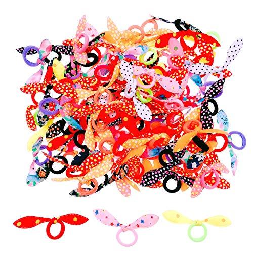 JZK 100 x Colorati codini piccoli elastici per capelli bambina con fiocco per neonata bimba piccola bomboniera pensierino regalino dopo festa compleanno bambina