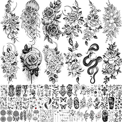 Bilizar 64 Fogli Fiore Grande Tatuaggi Temporanei Adulti Donna Nero Fiori Peonia Rosa Serpente Kit Tatuaggi Finti Bambini Bambina Braccio Manica Collo Gamba Coscia Adesivi Per Tatuaggi Temporanei 3D