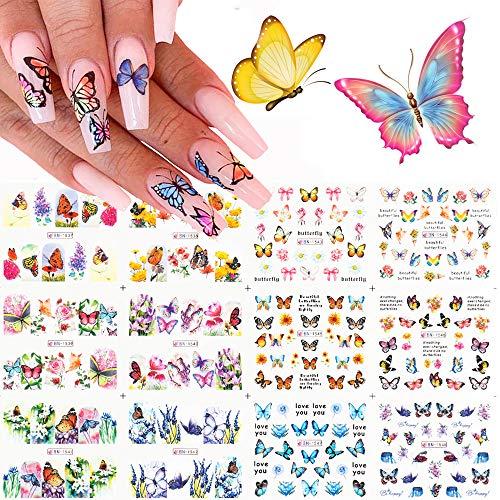 Kalolary 12 Design Farfalla Nail Art Adesivi per Trasferimento Acqua Decalcomanie Cursori Polacchi Fiori Copertura Completa Tatuaggio Fogli per Donne Unghie dei Piedi Decor Manicure Suggerimenti