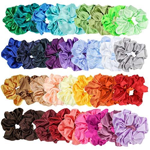 E-More 36pcs Scrunchies per capelli seta e lisci capelli satinati elastici per capelli corde senza trachea elastici scrunchies bobble cravatte per capelli per le donne ragazze