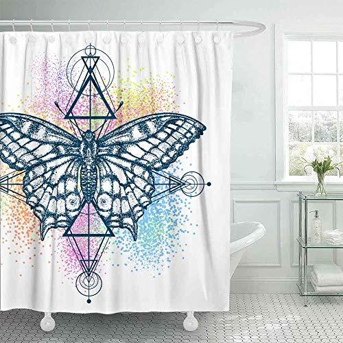 Tenda da doccia per camper, tenda da doccia country Tenda da doccia per donna Tenda da doccia per esterni Farfalla magica Colore tatuaggio Stile geometrico Bella coda di rondine divertente Tenda da do