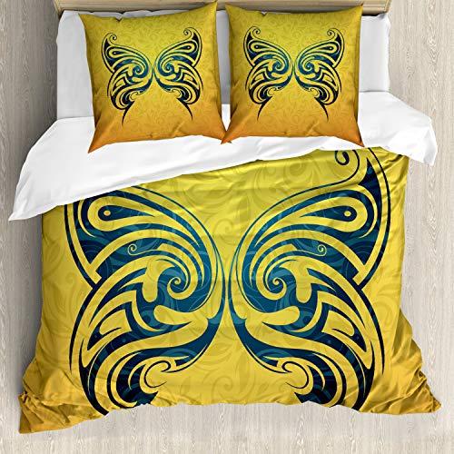 ABAKUHAUS Tatuaggio Set Copripiumino, Tribe Farfalla di Disegno, 3 Pezzi con 2 Federe Cuscini, 200 x 200 cm - 80 x 80 cm, Blu e Giallo