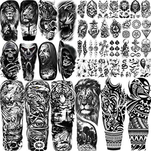 Shegazzi 42 Fogli Braccio Pieno Tatuaggi Temporanei Adulti Uomo Lungo Grande 3D Maori Leone Tigre Aquila Teschio Kit Tatuaggi Finti Donna Avambraccio Gamba Braccio Manica Adesivi Per Tatuaggi Bambini
