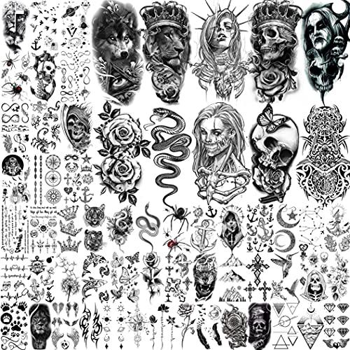 Shegazzi 62 Fogli Tatuaggi Temporanei Adulti Donna Uomo Realistico Spaventoso Teschio Leone Fantasma Vampiro Serpente Kit Tatuaggi Finti Bambini Halloween Braccio Avambraccio Collo Adesivo Tatuaggio