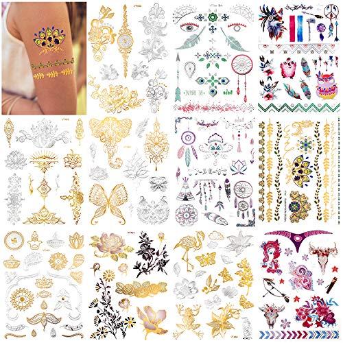 Qpout 150pcs Tatuaggi Temporanei metallici per le donne ragazze, nastro d'oro glitter design tatuaggio, gioielli totem tribale farfalla fiore piuma acqua tatuaggio, faccia braccio decorazione