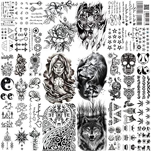 Bilizar 42 Fogli Nero Tatuaggi Temporanei Adulti Donna Uomo Grande Leone Tigre Lupo Totem Maori Kit Tatuaggi Finti Bambini Bambina Braccio Mano Viso Collo Adesivi Per Tatuaggi Temporanei Realistico