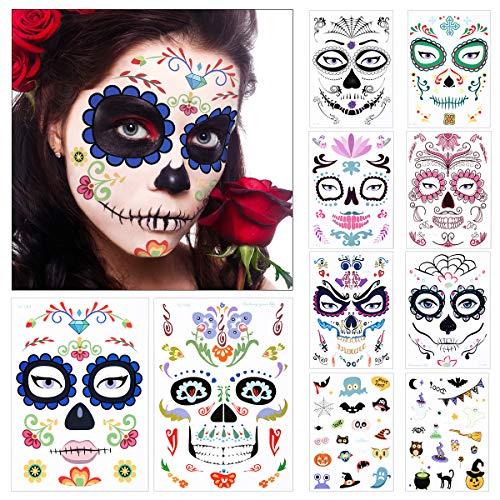 10 fogli Halloween Tatuaggi Temporanei, Cranio Floreale Nero Scheletro Web Rose Rosse Viso Temporaneo Tattoos Adesivi per Donne Uomini Adulti Bambini