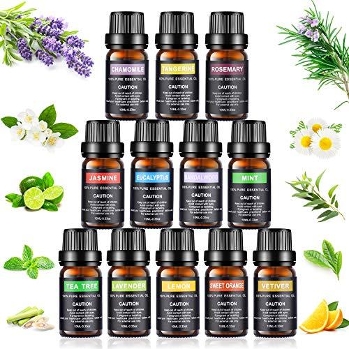 Olio Essenziale Set, Joylink Aromaterapia Olio Essenziale Biologici Puri 100% Essenze per Diffusori Kit (12 sapore)