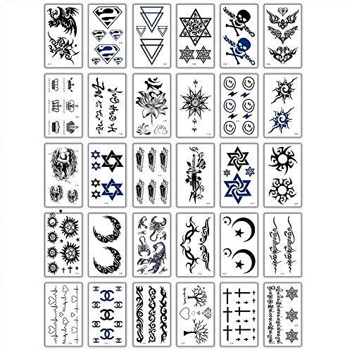 Tatuaggio Temporaneo,Adesivi per Il Trasferimento del Corpo 30 Fogli Stelle Luna Croce Piccolo Tatuaggio per Donna Uomo Bambini Braccio Torace Gamba Vita Collo Tatuaggio Impermeabile Rimovibile Non T