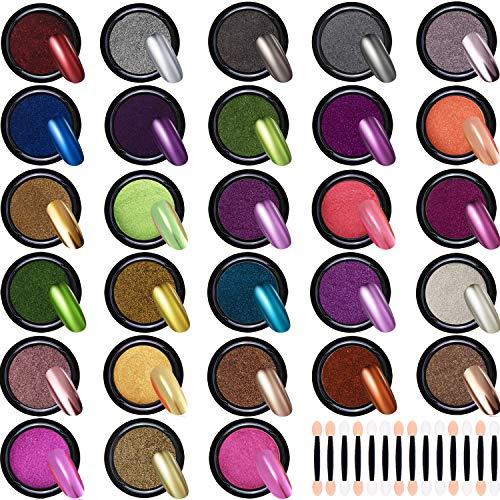 Duufin 28 Scatole Polvere per Unghie Effetto Specchio Glitter a Specchio Polvere per Unghie Nail Art, 1g/Scatole