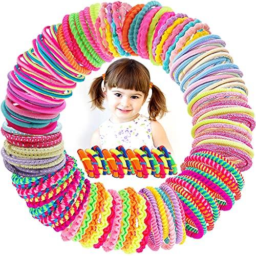 VEGCOO 150 Pezzi Elastici per Capelli Bambina, Mini Fasce per Capelli Multicolori Fascette Elastiche per Capelli per Coda di Cavallo, 14 Stile (B)