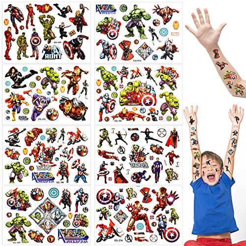 Set di tatuaggi temporanei per Bambini, Adesivi Tattoo Impermeabile, Tattoo Temporanei, Per Ragazze Ragazzi Feste scuola regalo compleanno (Unicorno Pikachu Vendicatori Marvel Paw Patrol Mario)