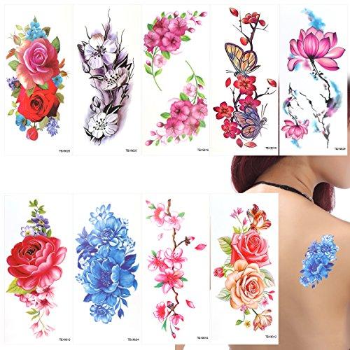 ROSENICE Tatuaggio temporaneo 9 fogli farfalla fiori di ciliegio tatuaggi per le donne