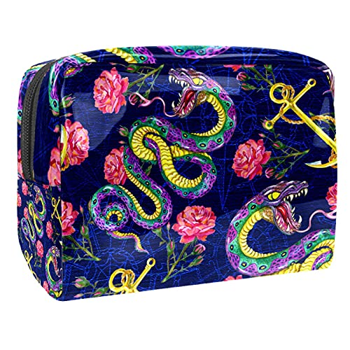 Makeup Bag for Purse PVC Travel Cosmetic Pouch Snake Anchor Rose Toiletry Bag for Women Girls Gifts Portable Water-Resistant Daily Storage Organizer 7.3x3x5.1 Inch