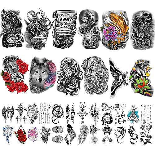Yazhiji 36 fogli di adesivi per tatuaggi temporanei include 12 fogli di adesivi di grandi dimensioni per falsi tatuaggi sulle spalle per uomo e donna