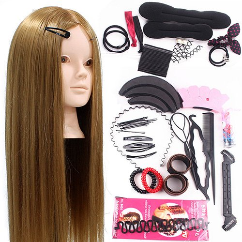 Neverland Testa Studio Manichini 24' 50% Capelli Veri Parrucchiere Cosmetologia Formazione Manichino Pratica Modello Con Morsetto & DIY Hair Styling Tools