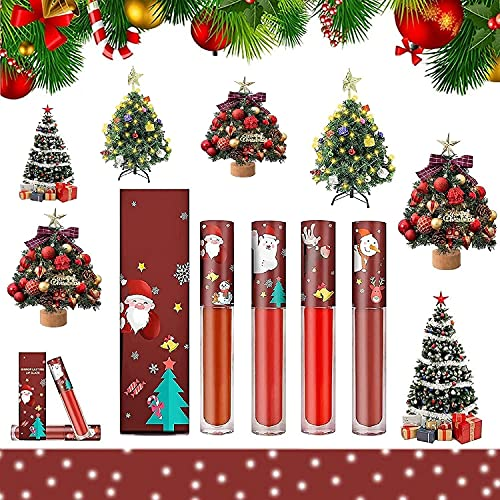 Christmas Mirror Lasting Lip Glaze, Long Lasting Waterproof Lip Gloss Set, Shining Lipstick Fashion Moisturizing, Non-Stick Cup Christmas Limited, For Daily And Party Makeup (4Pcs)