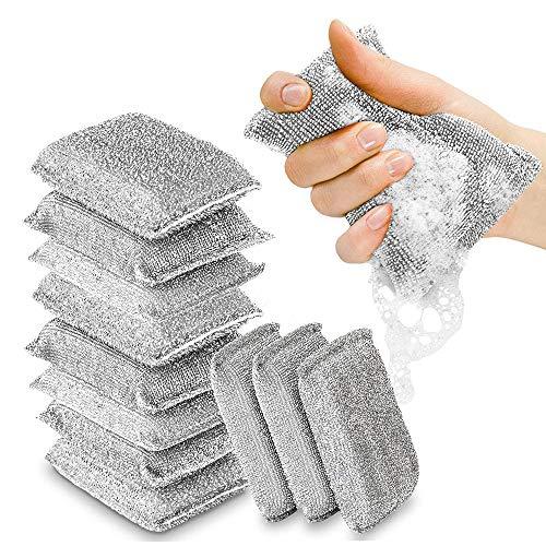 WHK 4 Pezzi spugne per strofinare Cucina, spugnette Abrasive Multiuso Multi-Superficie Spugna abrasiva per Pulizia AntiGraffio