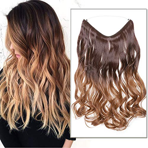 Silk-co 50cm Extension con Filo Trasparente Fascia Unica Extension per Capelli Mossi Ombre One piece Wire in Hair Extension Filo Invisibile–Castano a Marrone Medio