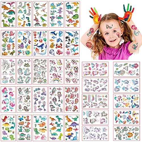 Tatuaggi Temporanei per Bambini Tatuaggi per Bambini,Tatuaggi Set Unicorns, Dinosaurs, Il mondo sottomarino and Mermaids Sacchetti Regalo Bomboniere Per Feste Forniture Decorative per Ragazze Ragazzi