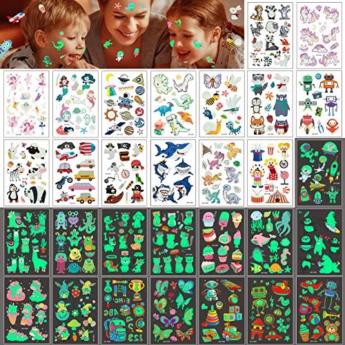 30 Fogli ECHOCUBE Tatuaggio Temporaneo per bambini, 300+ Tatuaggi Luminosi Misti con Assortiti Dinosauro Auto Tema Spazio, Tatuaggi Fluorescenti Adesivi per Bambini Regalo Natale Festa di Halloween