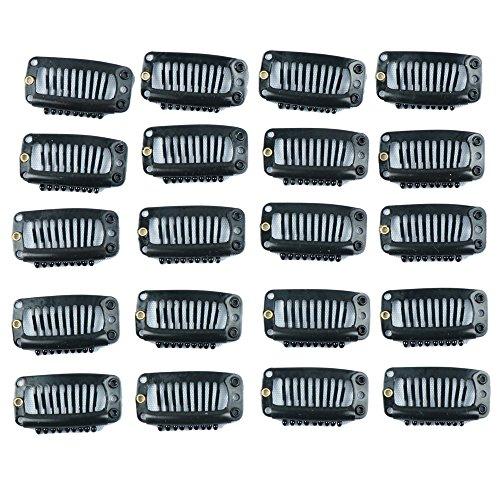 20 pezzi Clip per l'estensione dei capelli Nero 9 denti Clip a pettine per parrucca dalla