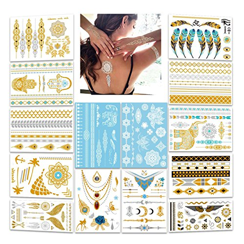 Konsait Tatuaggi flash metallici, 196modelli,tatuaggi adesivi appariscenti di colore bianco, oro e argento, con effetto merletto, per Natale e festività, idea regalo, 14fogli