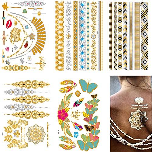symagal 6 Fogli Metallici Tatuaggi Temporanei per Donne Ragazze, Colorati Boho Sexy Impermeabile Collana Cavigliera Farfalle Fiori Tatuaggio Finti