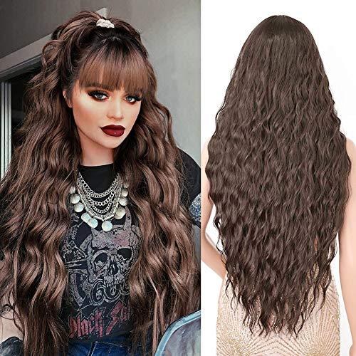 Parrucca lunga donna marrone scuro con frangia, YEESHEDO parrucche capelli naturale lunghi ricci ondulati sintetica capelli dark brown wig 28'