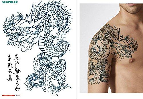 Tatuaggio temporaneo per braccio con scritta in lingua tedesca 'Dragon' PC005
