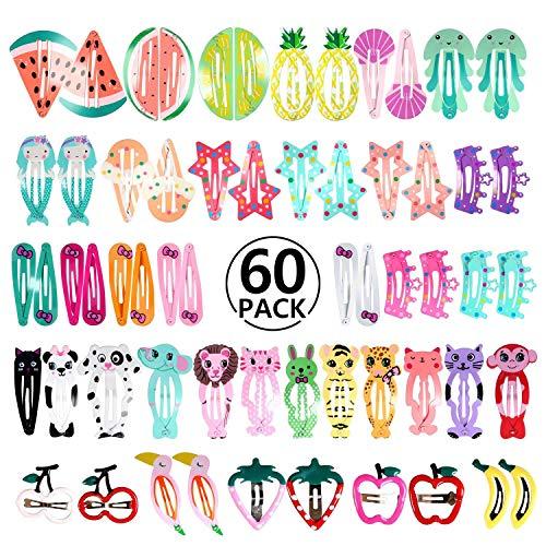 PAMIYO Mollette per Capelli Cartone Animato Carino Fermagli per Capelli in Metallo per Bambina Bambini Colorati 60 pezzi