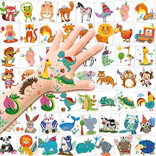 HOWAF Tatuaggi Temporanei per Bambini, 96 Dinosauro Giraffa Zebra Leone Panda Animale Tatuaggi Set, Finti Tatuaggi per Bambina Ragazzi, Tattoo Bambini per Feste di Compleanno Regalo Giocattolo