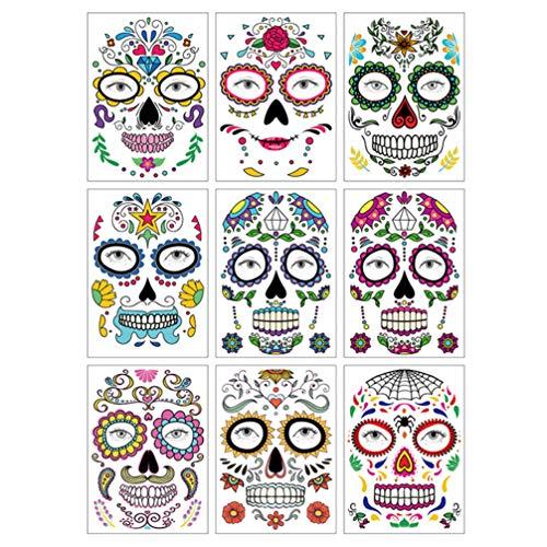 TOYANDONA 9pcs Halloween Viso Tattoo Sticker Impermeabile Trucco Floreale Scheletro Tatuaggio Viso Adesivo Decorativo Facciale Bomboniere