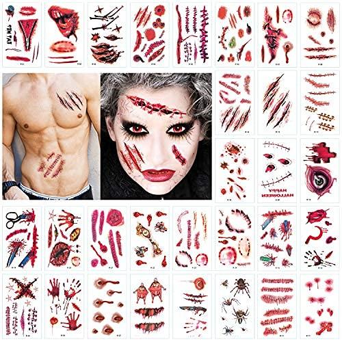 JEEZAO Halloween Tatuaggio di Cicatrice, Tatuaggi Zombi, Tatuaggio Temporaneo Impermeabile Realistico 30 Fogli (Type 1)