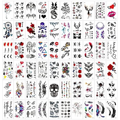 Qpout 60 Fogli Tatuaggi Temporanei per Adulti Donna Uomo Bambini, Nero Rosso Adesivi Tribali Impermeabili Tatuaggio Viso Braccio Manica Tatuaggio Polso, Totem Fiore Farfalla Teschio Animale Piuma