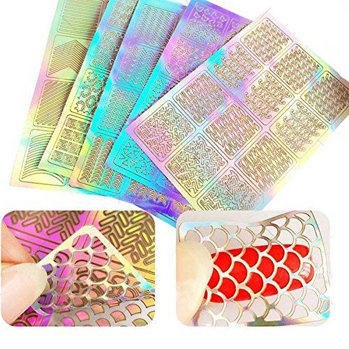 60 Pezzi 5 Fogli 72 Disegni Differenti Set d'Unghie Vinili Adesivi Stencil Carino Facile Unghie Arte Vinili Stencil Fogli
