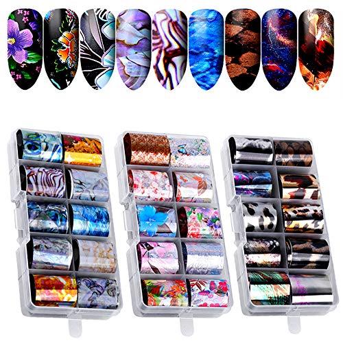 30 colori Nail Foil Transfer Stickers, Kalolary Adesivi Unghie Trasferimento Adesivo Decalcomanie Holographic Nail Stickers Decorazione Fai da Te Attrezzatura Arte Unghie (3 scatole / 30 pezzi)