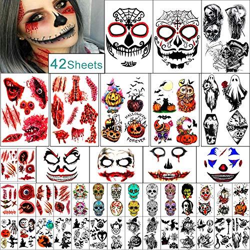 42 Fogli set Famiglia Tatuaggio Temporaneo di Halloween per Donna Uomo Ragazzo e Ragazza Kit di trucco per zombie di Halloween, tatuaggi impermeabili per cicatrici per feste
