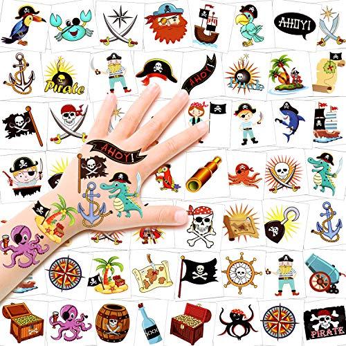 HOWAF Pirati Tatuaggi Temporanei per Bambini, 96Pcs Tatuaggio Temporaneo Falso Tatuaggi Tattoos Adesivi per Bambini Ragazze Ragazzi Regalo Pirati Festa di Compleanno Bomboniere Giocattolo
