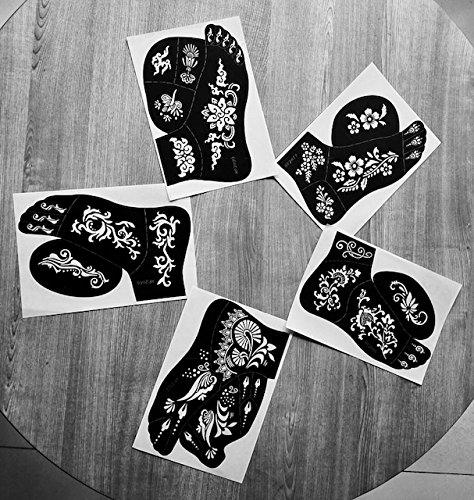 Laminau - Stencil Jennah per tatuaggi con henné in stile indiano/arabo su piede sinistro, confezione da 5