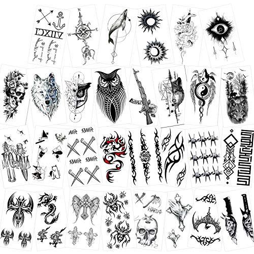 Konsait 30 Fogli Tatuaggi Temporanei Adulti Donne Uomo Bambini, Impermeabili Tatuaggio Temporaneo Nero tatuaggio adesivi, drago ancoraggio teschio lupo ecc