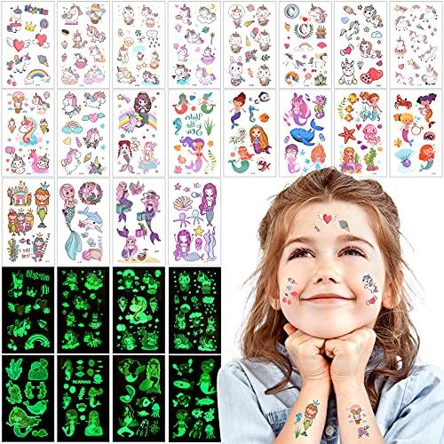 VinDox Tatuaggi Bambini,Tattoo Luminoso Bagliore nel Buio bambina, Tatuaggi Temporanei,Tatuaggi impermeabili per Ragazze Maschi, Compleanno Decorazione Regalini(30pezzi)(Sirena+Unicorno)
